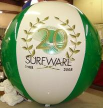 Large helium advertising balloon with Surfware logo