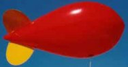 advertising blimp - red blimp - yellow fins - 11 ft. helium advertising blimp