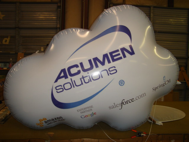 cloud shape helium balloon with Amazon,Google,Salesforece logos