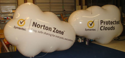 Cloud shape helium balloons with Symantec logo