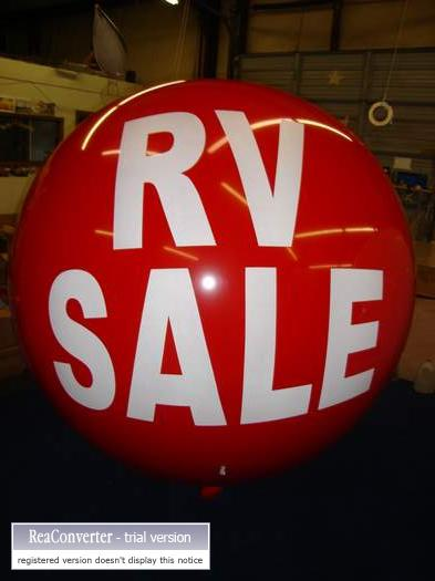 RV Sale lettering on advertising balloon