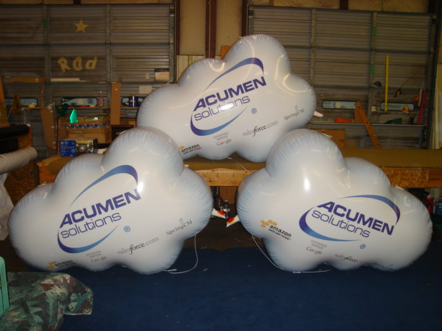 Cloud balloons with Acumen solutions logo