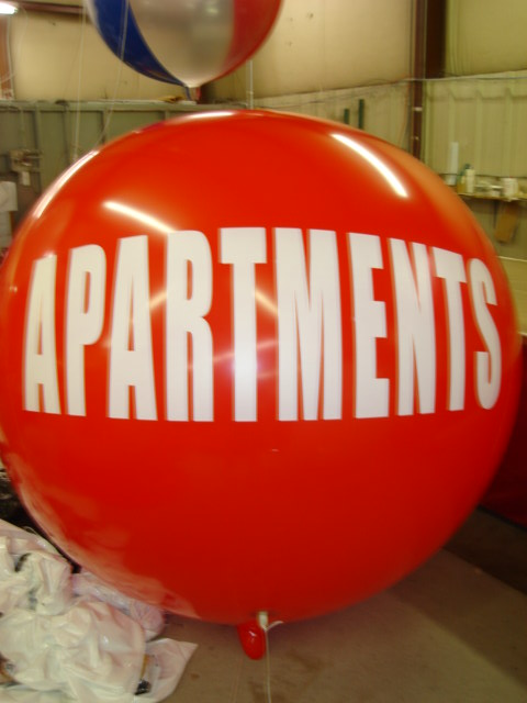 7ft. helium advertising balloon with Apartments lettering. Great for promotions.