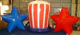 Patriotic Balloons - helium star advertising balloons and helium Uncle Sam hat advertising balloon. Great for parades.