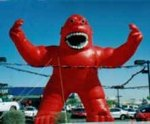 Giant Kong Balloons - gorilla cold-air advertising balloons. Great traffic builders for your sale or event. Red Kong - 30ft. tall kong inflatables
