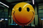 6' helium advertising balloon with Smiley Face design - simple art. Reusable 6ft. balloons without artwork - $169.00. 6ft. balloons with artwork from $433.00 - Reusable - made from durable polyurethane.