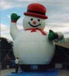 Rent A Blimp - Snowman inflatables - 25ft. 2 ball giant Snowman balloons available for purchase and rent.