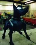 Product replica of a Mechanical Dog - We manufacture custom helium balloons to your specifications.